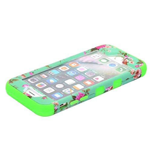 """iPhone 7 Coque,Lantier 3 en 1 Combo Belle jolie Belle Luxe Fleurs Design Amortissement Absorption Hybride Housse rigide avec étui Silicone Inner Shell pour iPhone 7 4.7"""" 2016 Noir Green"""