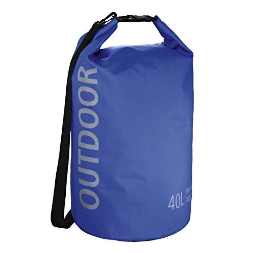 Hama Dry-Bag Schultertasche (40l, Wasserdichter Outdoor Packsack mit Roll-Top-Verschluss, Ideal für Wasser-Sport, Camping, Motorrad-Touren, Etc, im Seesack-Stil) Blau (Roll-top-dry Bag)