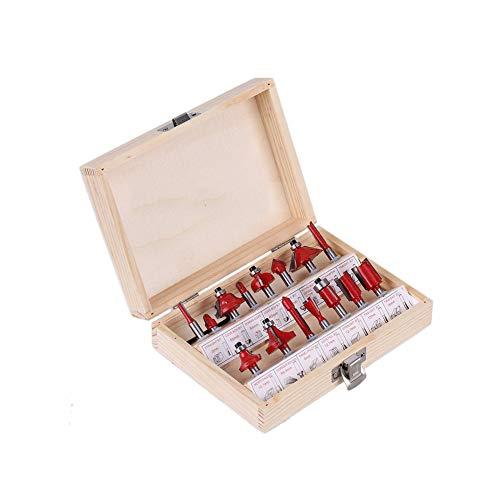 CTlite Oberfräser-Set, 0,6 cm Schaft, Hartmetall, bestückt, Holzfräser, Holzbearbeitungswerkzeug, Kit mit Holzkoffer für Heimwerker und Heimwerker, 15-teilig