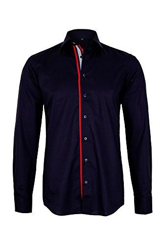 Eterna Long Sleeve Shirt Slim Fit Stretch Uni Blu marino
