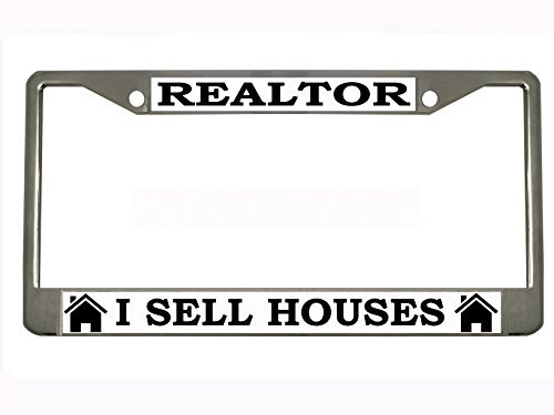 REALTOR I SELL HOUSES Chrome Metal Auto License Plate Frame Car Tag Holder with car banner flag by New Custom Auto Tag