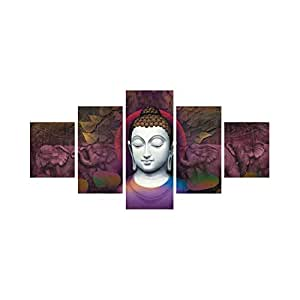 eCraftIndia 'Lord Buddha' Painting (Canvas Print, 127 cm x 60.96 cm, Set of 5)