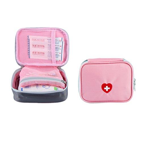 SwirlColor Tragbare Erste-Hilfe-Tasche Pille Organisator Einfach tragen Medizin-Behälter mit dem Multi-Tasche für Reisen - Rosa