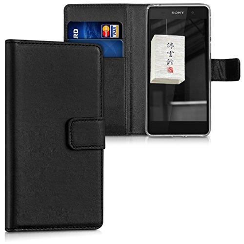kwmobile Wallet Case Hülle für Sony Xperia E5 - Cover Flip Tasche mit Kartenfach und Ständerfunktion in Schwarz