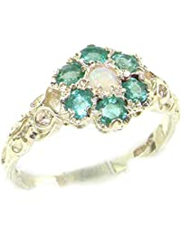 Victorian Ladies Solid Sterling Silver Natural Fiery Opal & Emerald Daisy Ring