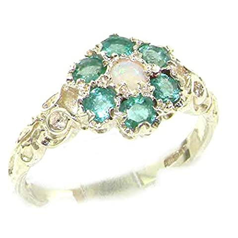Victorian Ladies Solid Sterling Silver Natural Fiery Opal & Emerald Daisy Ring - Size L - Finger Sizes L to Z Available - Suitable as an Anniversary, Engagement or Eternity