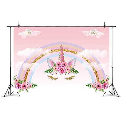 Templom SIX Einhorn-Hintergrund Einhorn-Geburtstags-Foto-Hintergrund 5x3ft Regenbogen-Blumenfotografie-Hintergrund für Geburtstagsfeier-Fahnen-Studio-Stützen( H12)