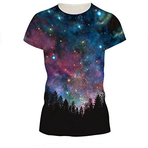 MILEEO Damen Basic T-shirt Skull Schädel Shirt mit Rundhals Klassisch Rundhalsshirt Kurzarm Tops Stil 14