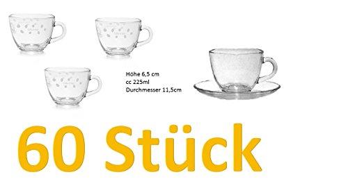 Cappuccino-drink-mix (60er Set Tee-oder Cappuccino-Gläser mit Bohne James Dekor mit Henkel Höhe 6,5 cm cc 225ml Durchmesser 11,5cm)
