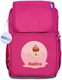 UniQBees Personalised School Bag With Name (Smart Kids Large School Backpack-Pink-Cherry Cone)