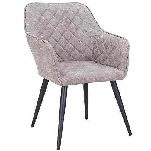 Duhome Esszimmerstuhl aus Stoff Lederoptik Hell Grau Marmor Stein Farbauswahl Retro Design Armlehnstuhl Stuhl mit Rückenlehne Sessel Metallbeine 8058