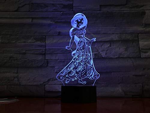 Prinzessin 3d nachtlicht led mädchen tochter geburtstag cartoon geschenk raumdekor licht touch sensor tisch nacht lampe dropship@Ohne Controller - Nacht Licht Tisch Lampe Basis