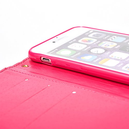 """Cover pour Apple iPhone 7 4.7"""", CLTPY Mignon Paillette Flash Diamond Motif Style Design avec Magnetique et Fente de Carte Full Body Wrap Back Cover Case Couvrir pour iPhone 7 + 1x Stylet - Argenté 3 Rose 3"""