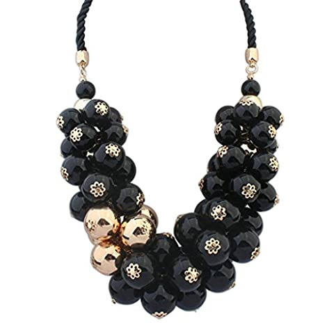 Aooaz Womens Bohemian Statement Necklace Vintage Love Long Choker Necklace Twisted Rope Beads Black Chain - Nonna Bracciale Perle D'argento Bracciale Perle