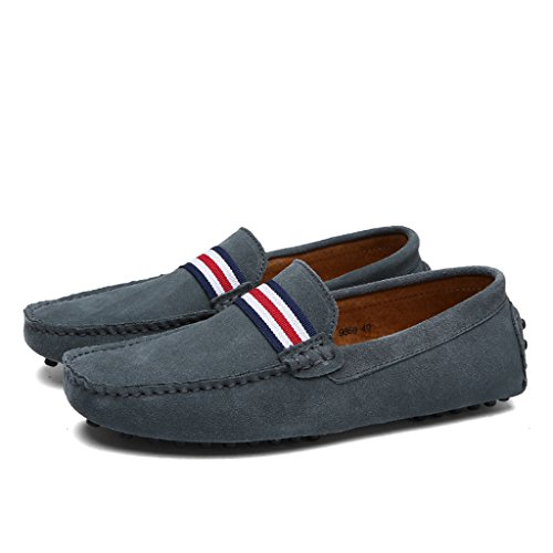 Eagsouni® Mocassins en daim Hommes Penny Loafers Casual Bateau Chaussures de Ville Flats #1Gris