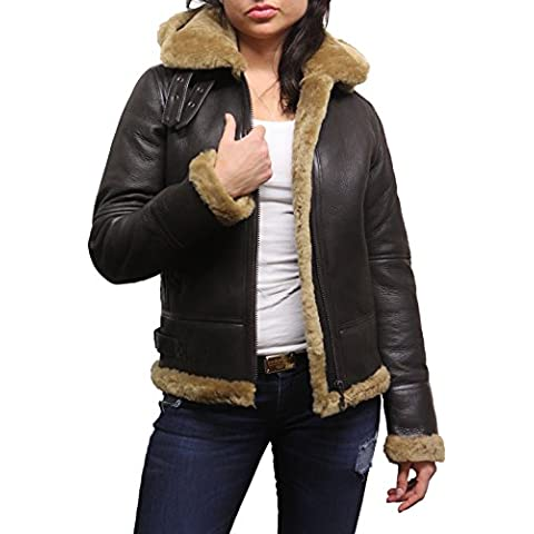 Brandslock Mujeres de las señoras con capucha del aviador real de piel de oveja de piel de oveja de cuero de Flying capa de la chaqueta
