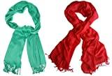 #10: Nikita Crepe Green & Red Colour Scarf For Women's