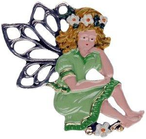 Zinnfigur Elfe mit grünem Kleid und Haarkranz (Kleid Grün Elfen)