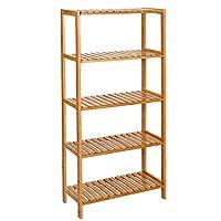 SONGMICS Bamboo Shelves, Bathroom Storage, Stand Shelves,Towel Rack