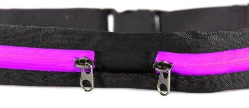 COM-FOUR® Gürteltasche Sport mit schwarzem Zippverschluss elastisch (Blau) Pink - 2 Stück