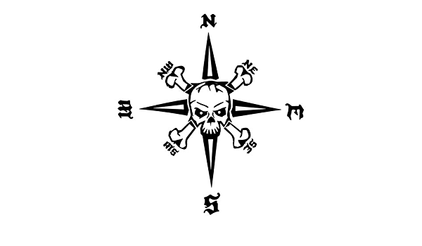Generic Kompass Totenkopf Aufkleber 30x30cm Windrose Aufkleber Für Biker Caravan Wohnmobil Wohnwagen Auto Oder Als Wand Tattoo 219 6 Dunkelgrau Matt Garten