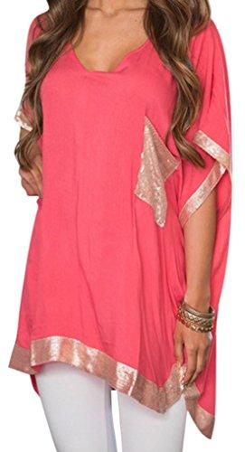 erdbeerloft - Damen Asymmetrisches Oversize Shirt mit V-Ausschnitt, XS-XL, Viele Farben Rot