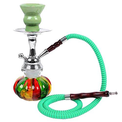 Reise Mini Shisha RAINBOW Grün / Glas mehrfarbig mit 1 Schlauch + Tonkopf + Dichtungen, Kohle-Zange, 25cm