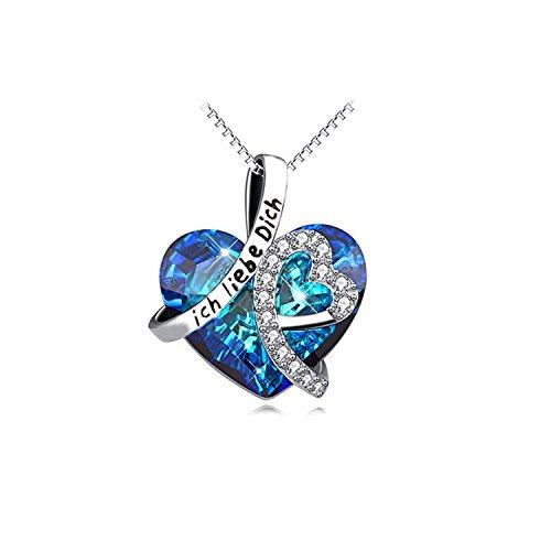 Silvity Damen Kette Edelstahl kette veredelt mit einem Swarovski Kristall Gravur Kette ich liebe dich mit Geschenk Box 892005-E-20