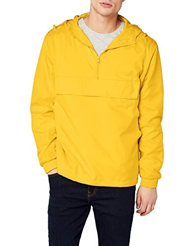 Urban Classics Herren Windbreaker Basic Pull-Over Jacket, leichte Streetwear Schlupfjacke, Überziehjacke für Frühjahr und Herbst - Farbe chrome yellow, Größe M -