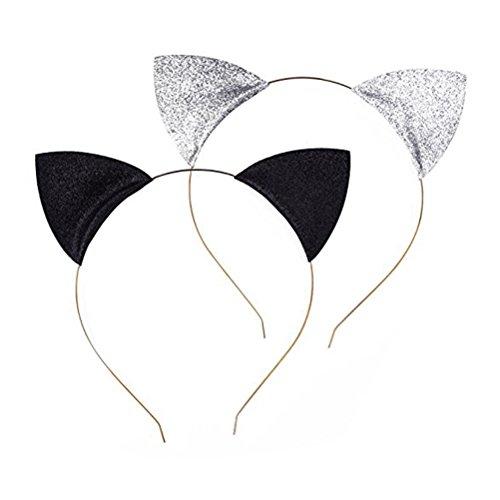 Katze Ohren Stirnbänder Katzen Ohr Haar Reifen Spangen für Party und tägliche tragen schwarz und Silber ()