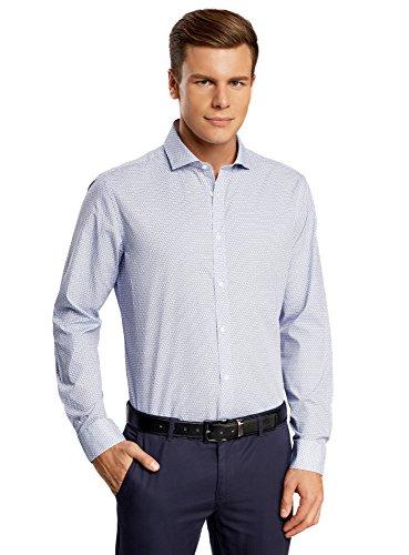 oodji Ultra Hombre Camisa Entallada con Peque/ña Decoraci/ón Geom/étrica