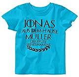 Mikalino Baby/Kinder T-Shirt mit Spruch für Jungen Mädchen Unisex Kurzarm Individueller Name 'aus dem Hause | handbedruckt in Deutschland | Handmade with Love, Farbe:Atoll, Grösse:80/86