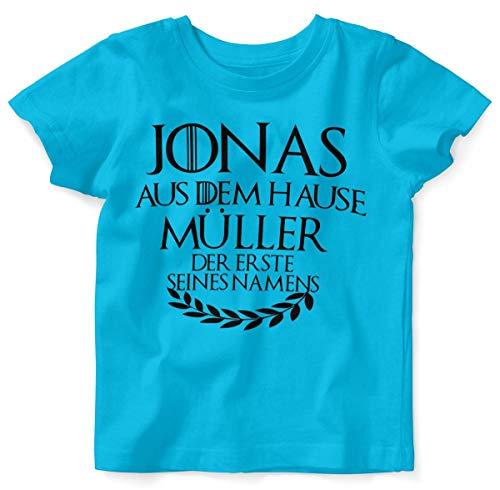 T-Shirt mit Spruch für Jungen Mädchen Unisex Kurzarm Individueller Name 'aus dem Hause | handbedruckt in Deutschland | Handmade with Love, Farbe:Atoll, Grösse:80/86 ()