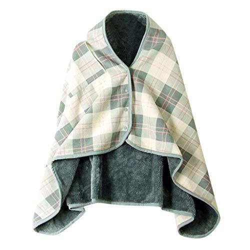Y56 Dame Multifunktions Doublelayer Tartan Plaid Blanket Schal Wrap Schal Winter warm Ponchos Schal TV-Decke Blanket Decke Faul Kuscheldecke Geschenk (G)