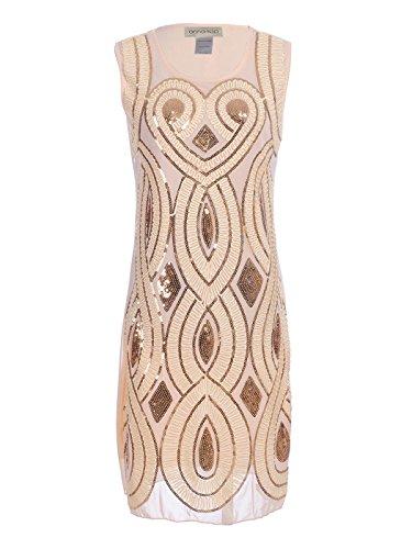 en Paillette Art Deco 1920er Jahre Flapper Herz Diamant Band ärmelloses Kleid (Beste Griechische Göttin Kostüm)