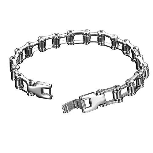 Preisvergleich Produktbild Edelstahl Herren Armband Purposefull - Punk-Radfahrer-Klassiker-Armband - Fahrrad und Motorrad-Kettenverbindungs -Entwurf (10mm width)