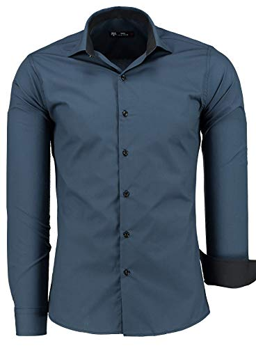 TMK Herren Hemd - Slim - Fit - Langarm - Premium Bügelleicht Hemden für Business, Freizeit, Hochzeit, Party für Männer - Navy/Schwarz Kragen L