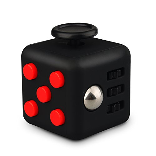 QQPOW Stress Cube for Adults Children Anxiety Attention Relieves Stress and Anxiety Release Stress Toy (Black and Red)
