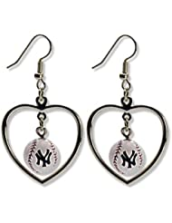 Yankees de New York Boucles d'oreilles Mini Coeur de base-ball