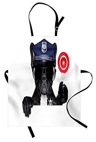 Polizei Schürze, Animal Dog Mops trägt Brille Daumen hoch mit Sirenen Verkehrspolizei wie Artwork, Unisex-Küche Latzschürze mit verstellbarem Hals zum Kochen Backen Gartenarbeit, blau und ()