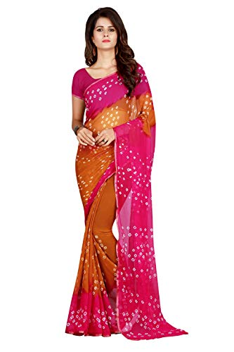 Dealsure Women\'s Bandhani Saree with Blouse Piece