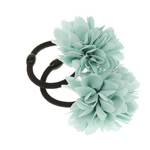 2pcs Blumen Haargummi Zopfgummi Haarband Pferdeschwanz Zopfgummi Schmuck - Baby Grün