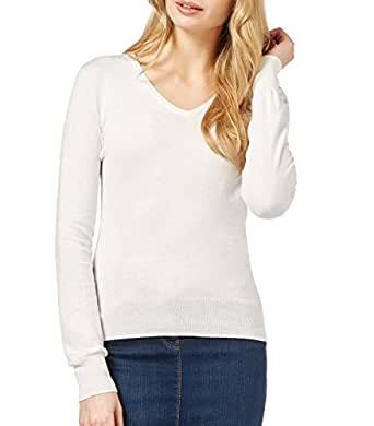 WoolOvers Womens Silk and Cotton Long Sleeve V Neck Knitted Sweater Natural White, S