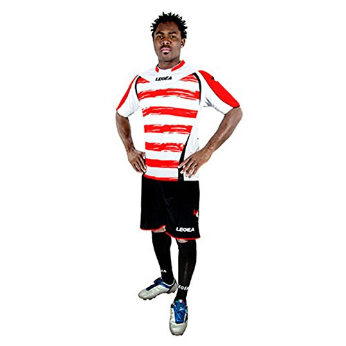 Legea Herren Jungen Fußball Kit Trikot Shirt Short Hosen Klein Armel Hallenfußball Belfast Weiss Royal rot/schwarz