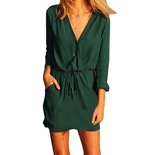 Rosennie Damen V-Ausschnitt Grün Langarm Kleid beiläufiges Sommer Mini Kleid (S)