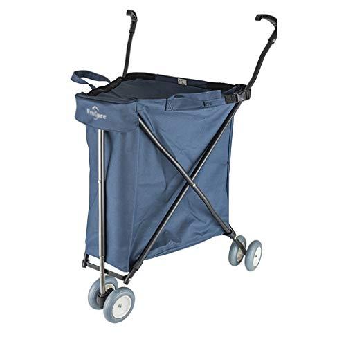Supermarché caddie roue universelle multi-fonction pliant camper voiture de pêche tir en plein air voiture express voiture (Color : Blue)