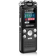 BOOCOSA Digitales Diktiergerät Voice Recorder, 8GB Speicher, Drei-Mikrofon HD Stereo Aufnahme, Dynamische Rauschunterdrückung mit Aufnahme/Speichern Schiebeschalter