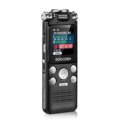 Enregistreur Audio Numerique - Enregistreur Vocal Numérique, BOOCOSA Dictaphone 8 G