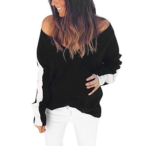 OSYARD Damen Sexy Gestreift Patchwork V-Ausschnitt Sweatshirt, Frauen Langarm V-Ausschnitt Gestreiften Pullover Tops Bluse Shirt (S, Schwarz)