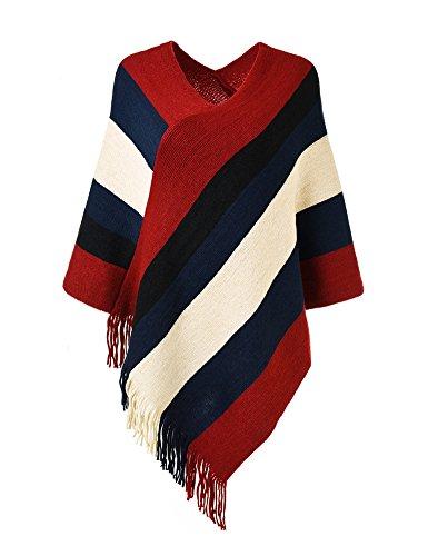 Ferand Gestreift Gestrickter Poncho Schal im Wickeldesign mit gefransten Seiten für Frauen, Rot & (Rotes Und Cape Schwarzes)